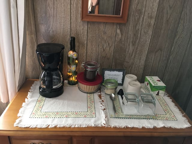 Coffee station in Bedroom.