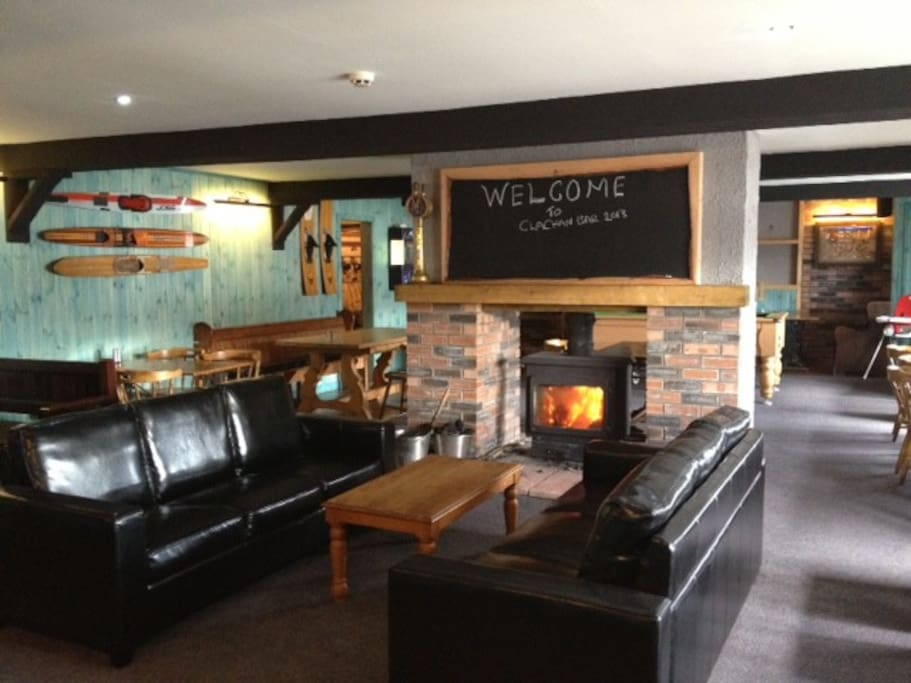 roaring log fire welcomes you
