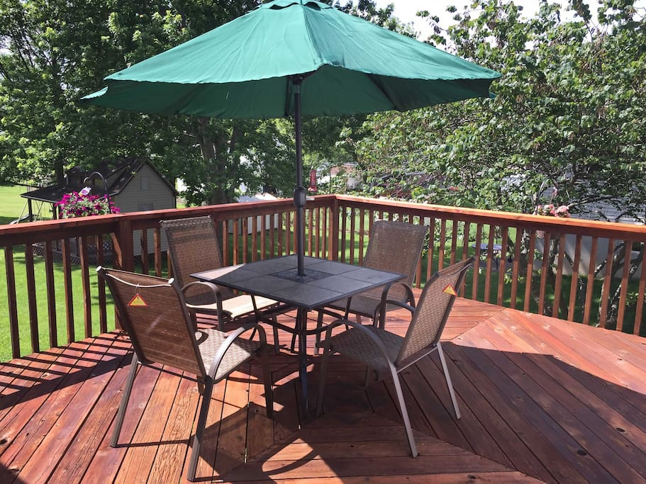 Enjoy time outside on the private furnished deck.