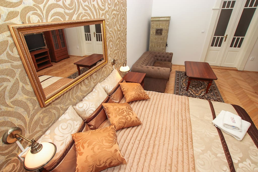 1st bedroom (double bed, single bed + living corner with TV)