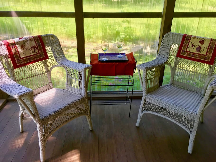 Sun porch for relaxing with a bottle of wine