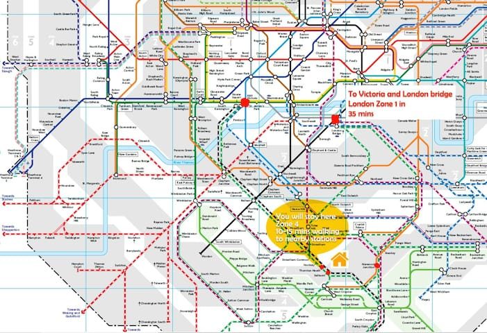 10-15 mins walk to nearby stations, down to london by train in 35 mins