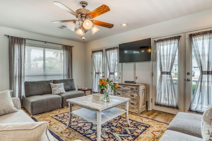 Homey pet-friendly home with shared pool, loft, & sundeck - short walk to beach!