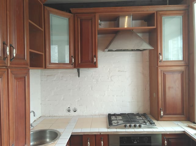 Кухня для общего пользования. Газовая плита, электрическая духовка, вытяжка, чайник, холодильник.