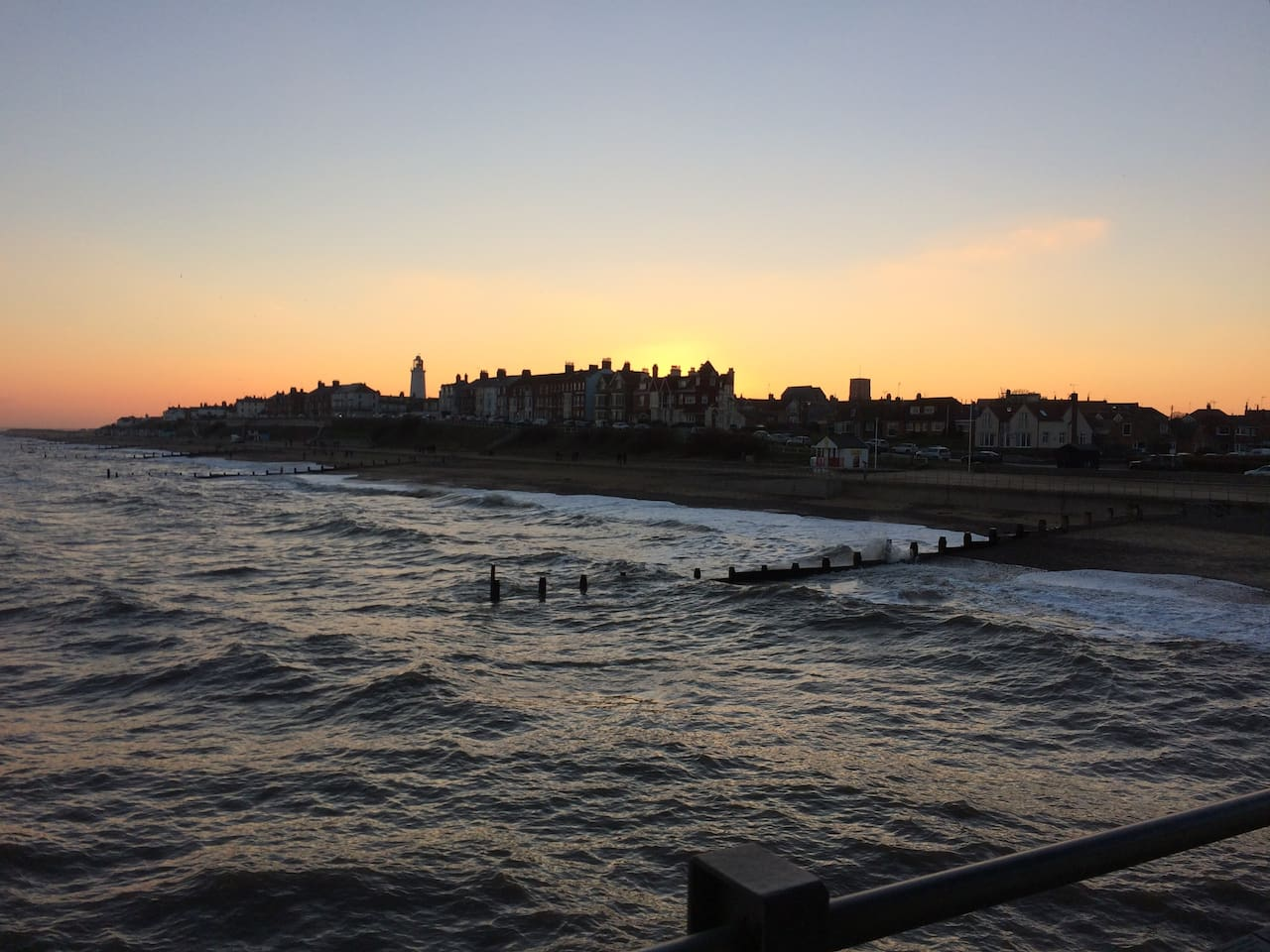 Southwold at sunset taken from the Pier