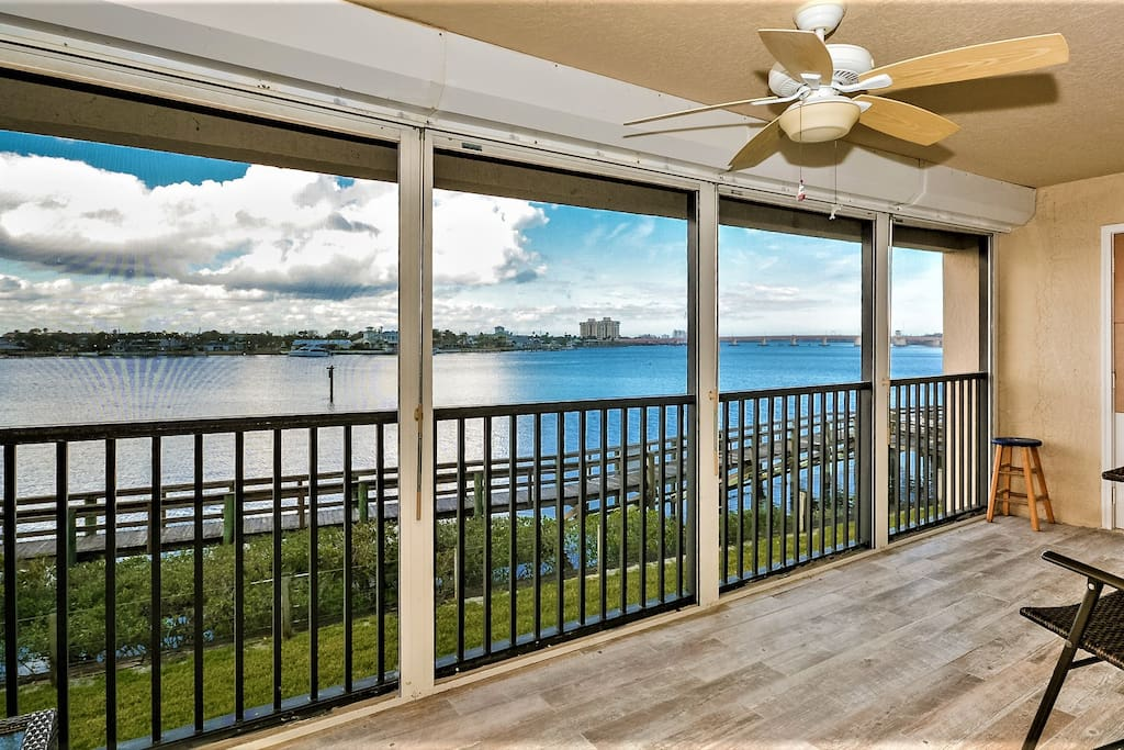 Screened balcony with amazing waterfront view!
