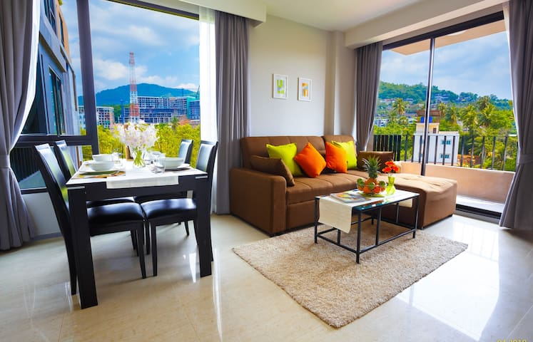 Stylish Condo, 2-BR apartments! Infinity pool on the roof ❤️ Surin (505)