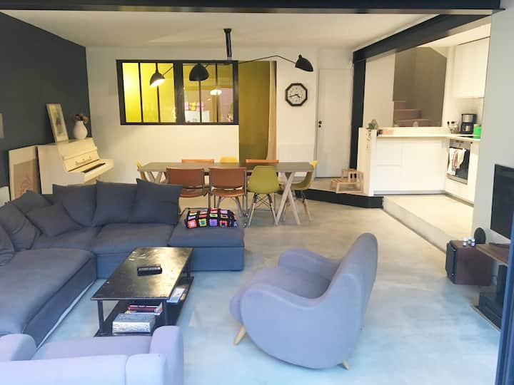 Loft House-100 Sqm-Garden (7mn to Paris by car)