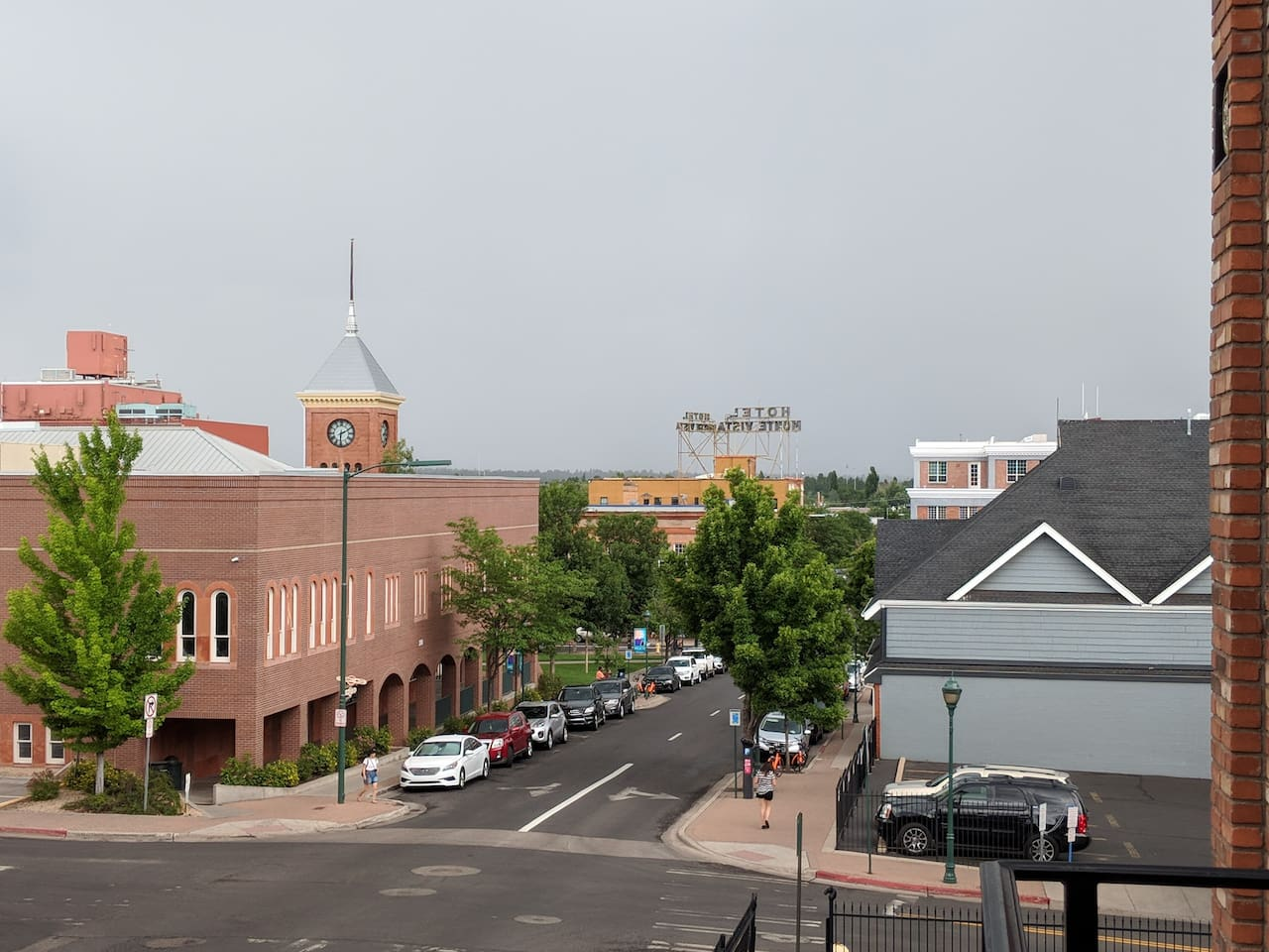 View of Downtown Flagstaff from the balcony