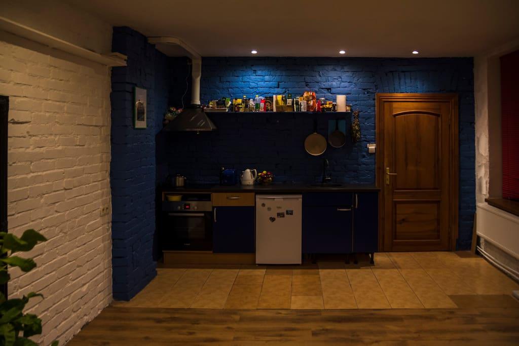 Living room & Kitchen(Evening artificial lightning)