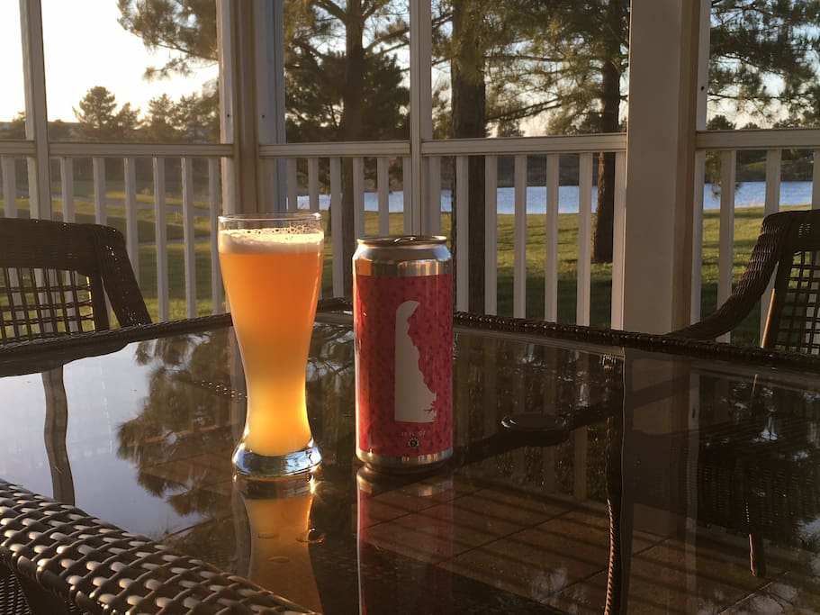 Enjoy the Local Beer From Dewey Beer Company on the Screened in Back Porch
