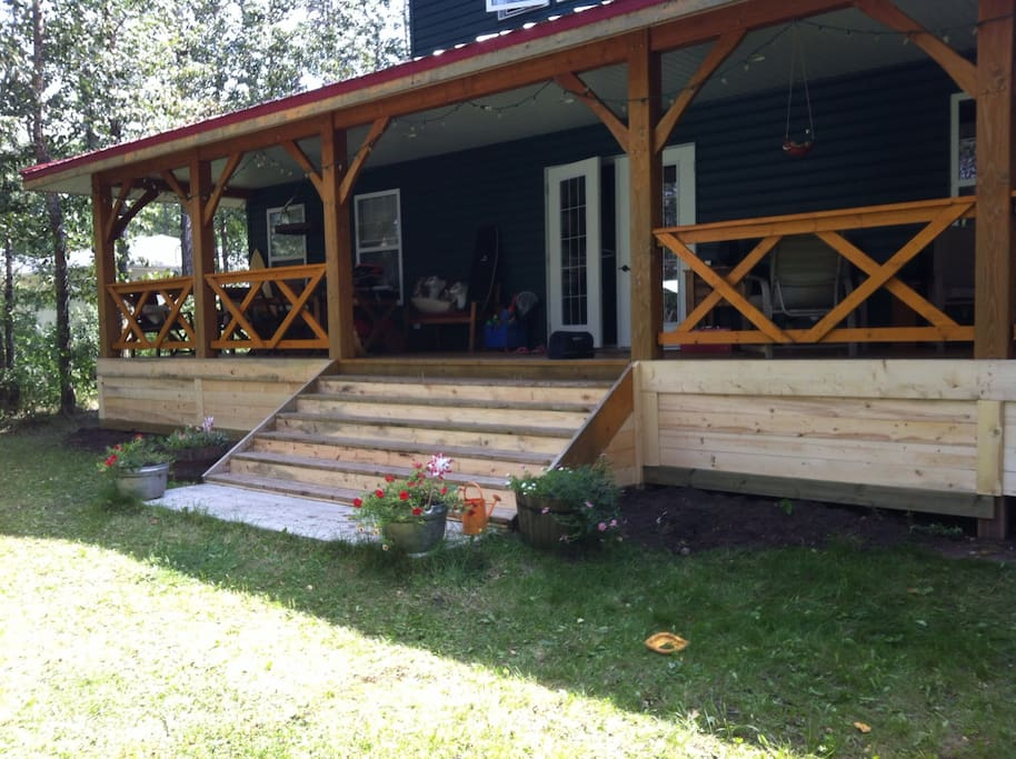 Covered porch. Lake side.