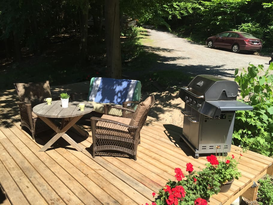 BBQ on deck just outside of kitchen