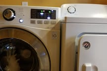 Turn dirty to clean and wet to dry. Washer with steam option and dryer. Remember the only cotton likes it hot. The rest? Not so much. Don't burn....!!!!