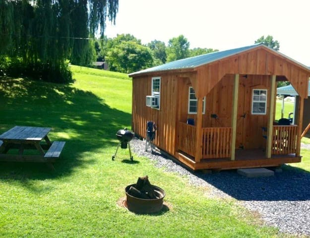 One room campground cabin near Seneca Lake
