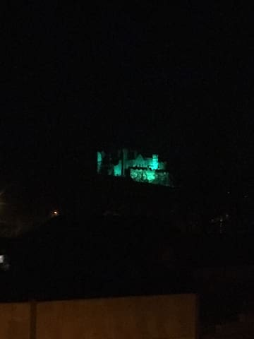 The rock lit up for St. Patrick's day!