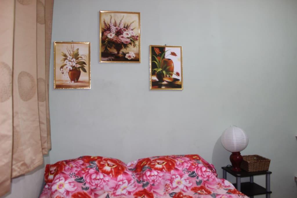 Habitación equipada con 1 cama doble, ventilador, toalla, jabón y closet.