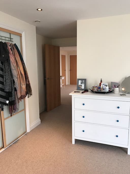 Space to store your clothes in both the dresser and the closet.