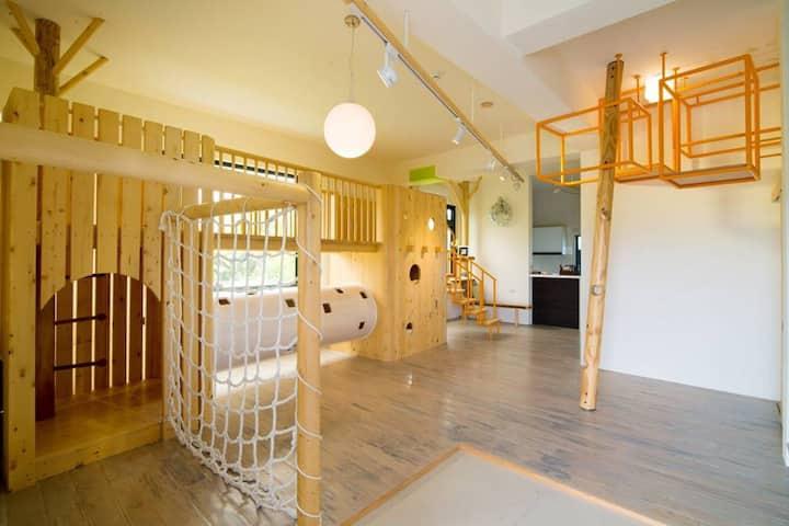 親子友善/6-12人包棟/飯盒·梵禾Fine Home/實木遊具+小閣樓,滿室書房,寬闊草地