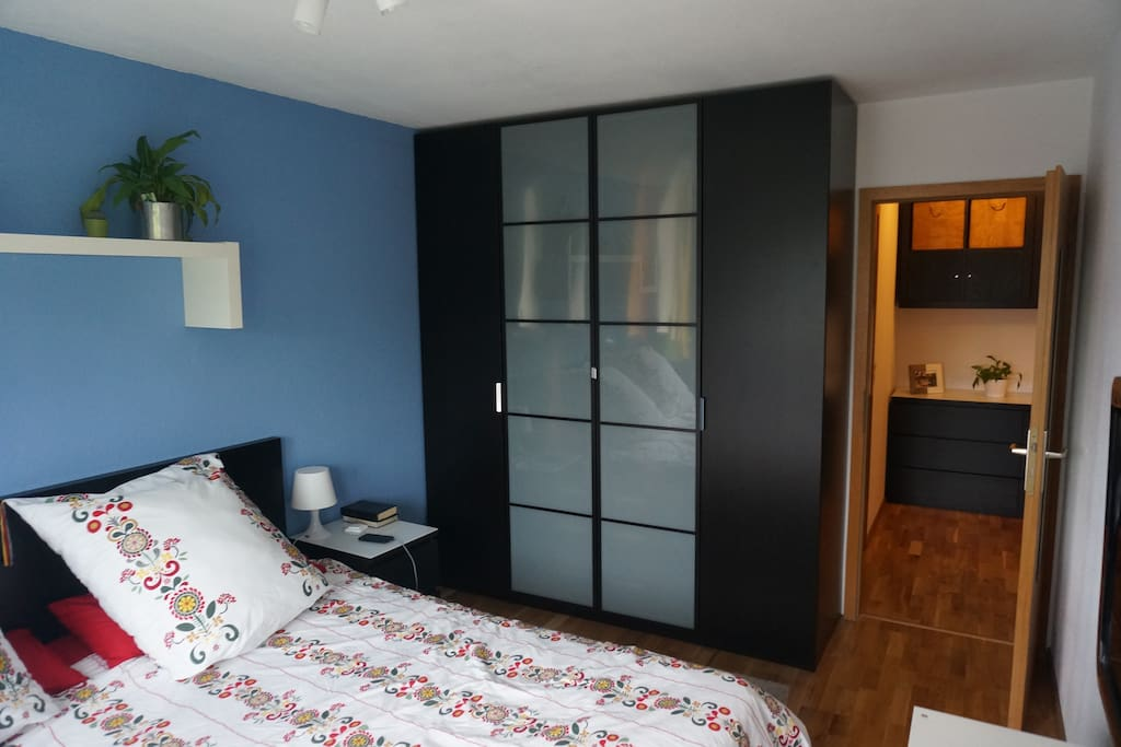 Big closet which accommodates the cloth of up to 2 persons