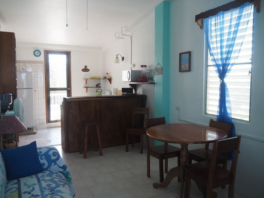 Kitchen area in the sea view apartment