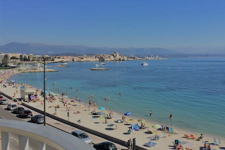 Antibes, sea, beach view with a private parking