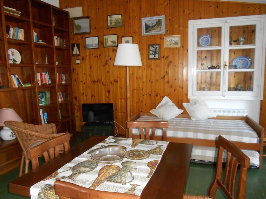 Grande soggiorno con due posti letto (uno nascosto)