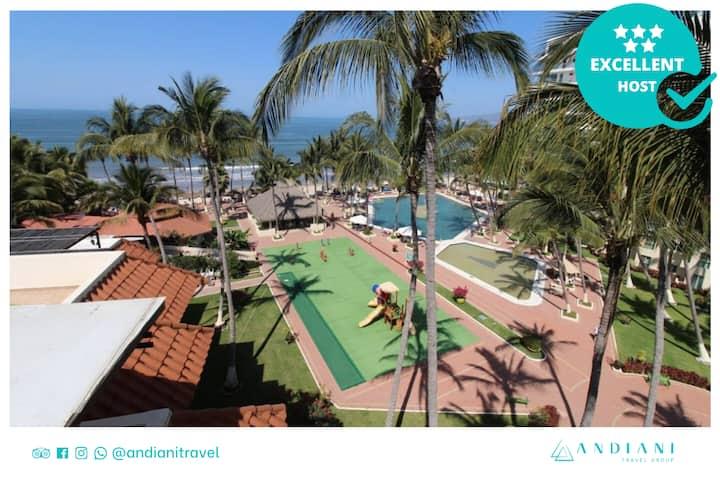 ✽ Suite en hotel ✽ 2 habitaciones + playa+ alberca