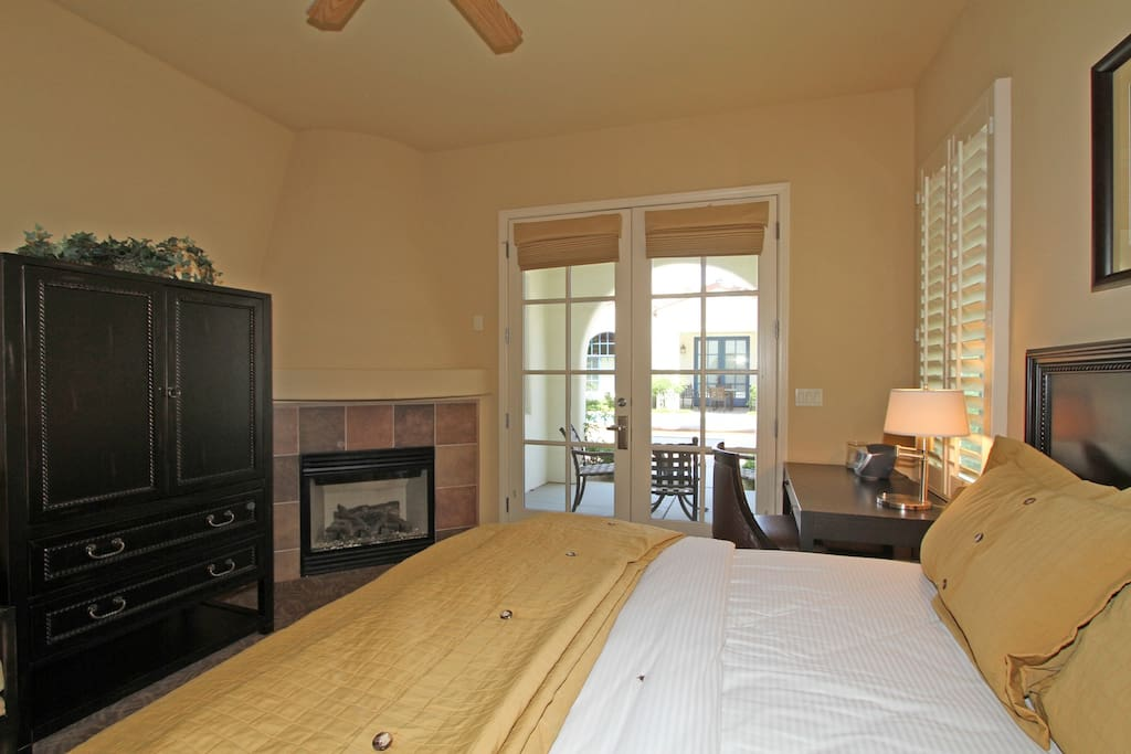 Studio Bedroom with TV and Fireplace