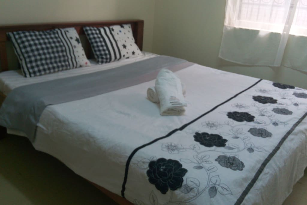 The bed in the private room