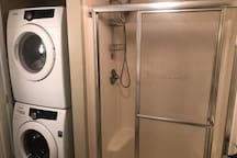 Full sized washer and dryer are available.