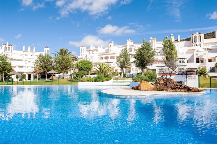 Beautiful Apartment On the Beach with Terrace, Pool, Tennis Court and Garden