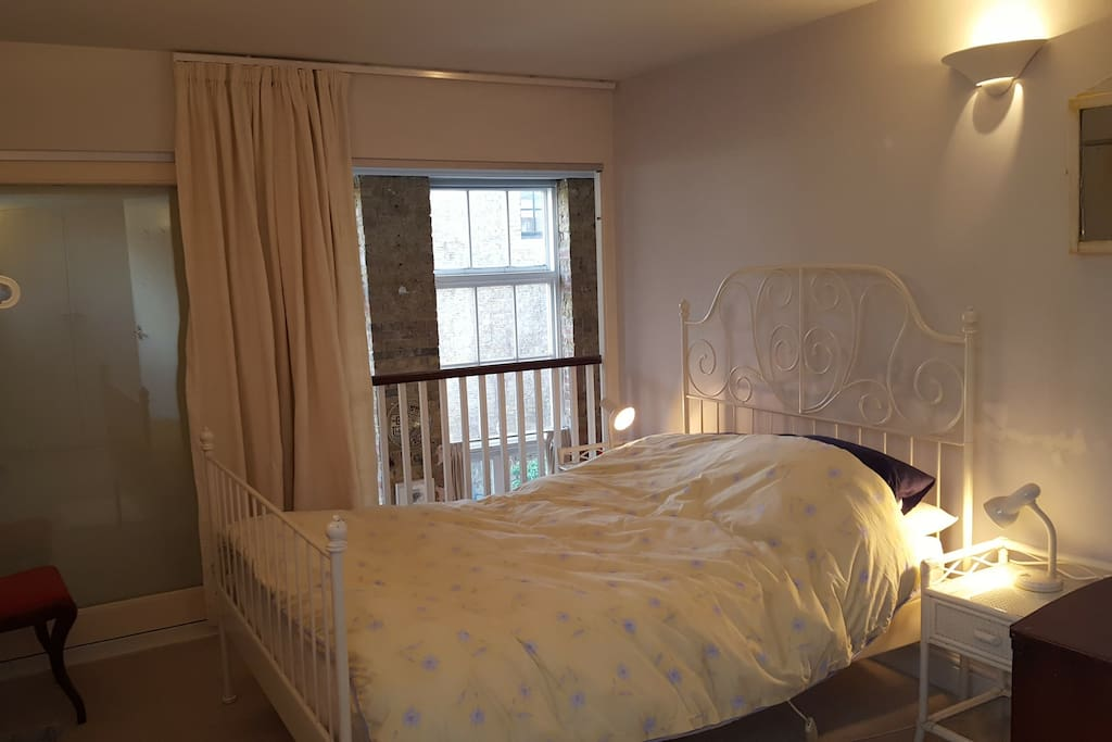 Bedroom has glass door and curtain - so it's quiet and private.