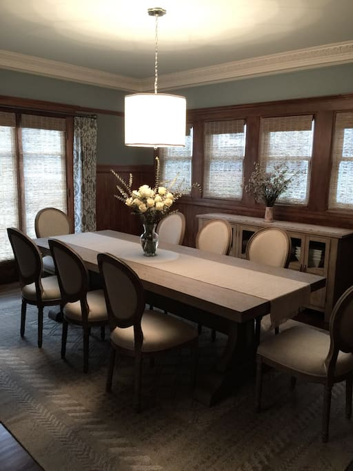 Formal dining room with seating for up to 10 people