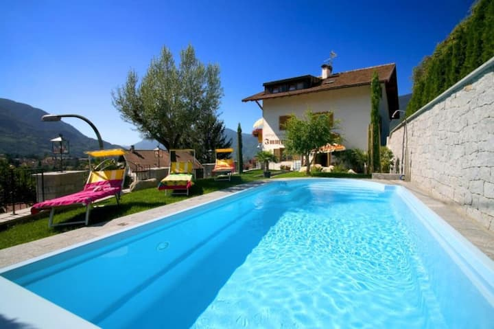 """Charming Apartment """"Meran-Immenhof"""" with Mountain View, Wi-Fi, Balcony & Shared Pool; Parking Available"""
