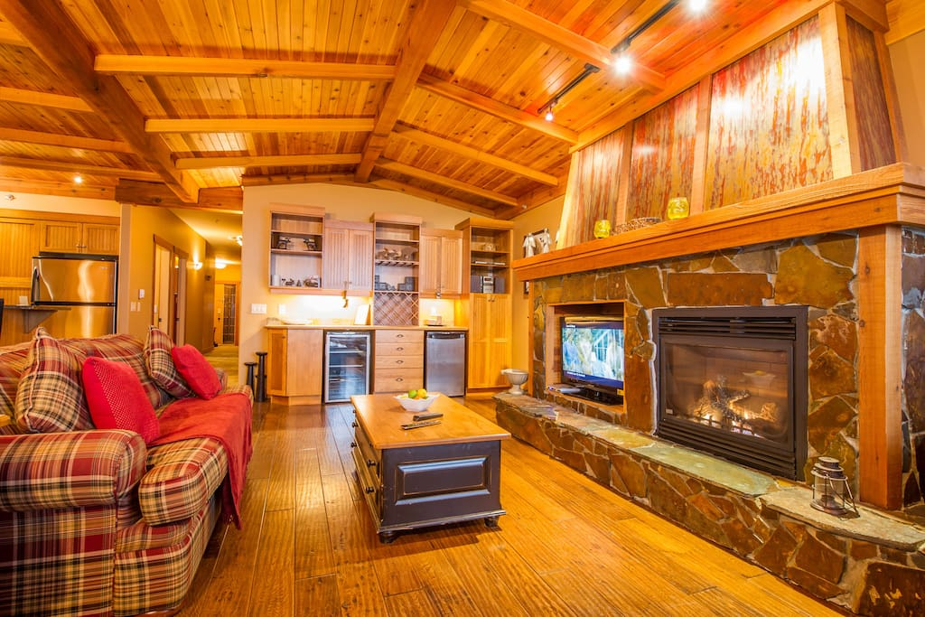 Beautiful wooden finish provided and warm mountain lodge feel for you to relax in