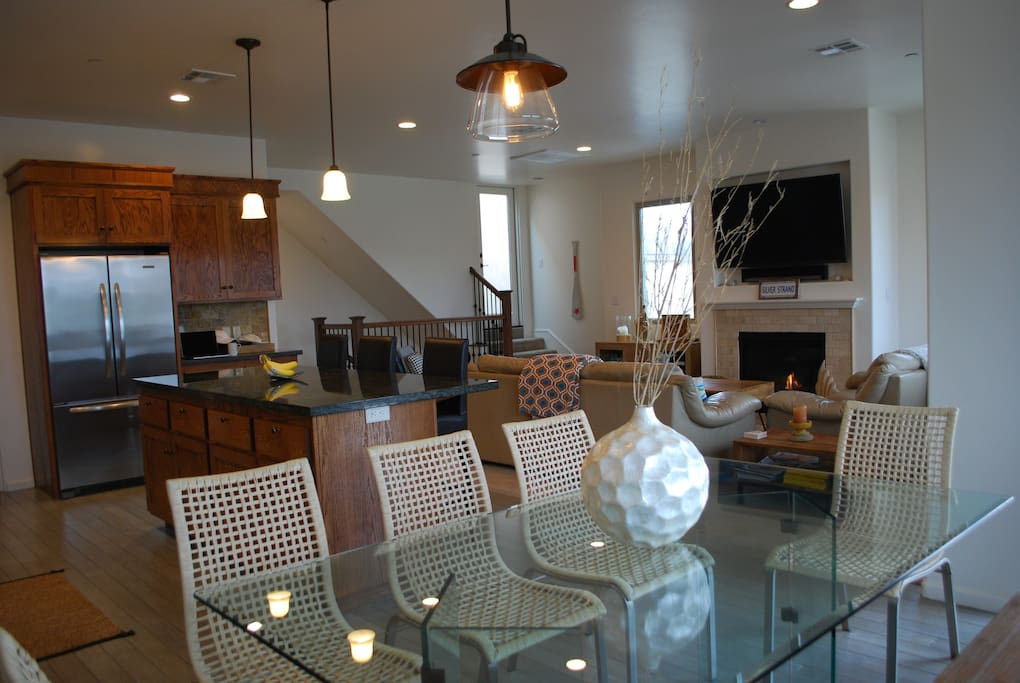 dining area with access to balcony to BBQ, ocean view from this spot.