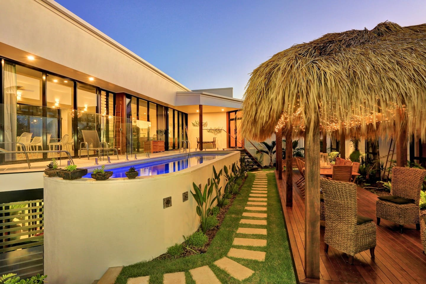 The proximity of the upstairs open plan area, the pool lounge, the Magnesium pool itself, the ZEN gardens and the Bali - it all flows quite effortlessly into he villas where friends acne stay in addition to the main residence.