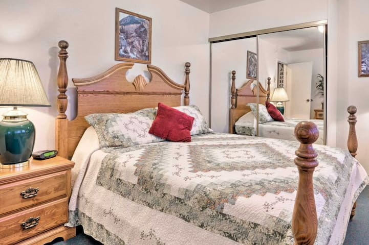 Master bedroom with queen bed, large closet, and dresser. Enjoy the farm theme throughout the unit including the bedrooms.