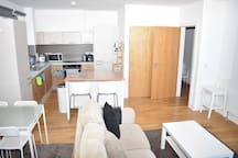 Modern and bright two bed apartment with parking!