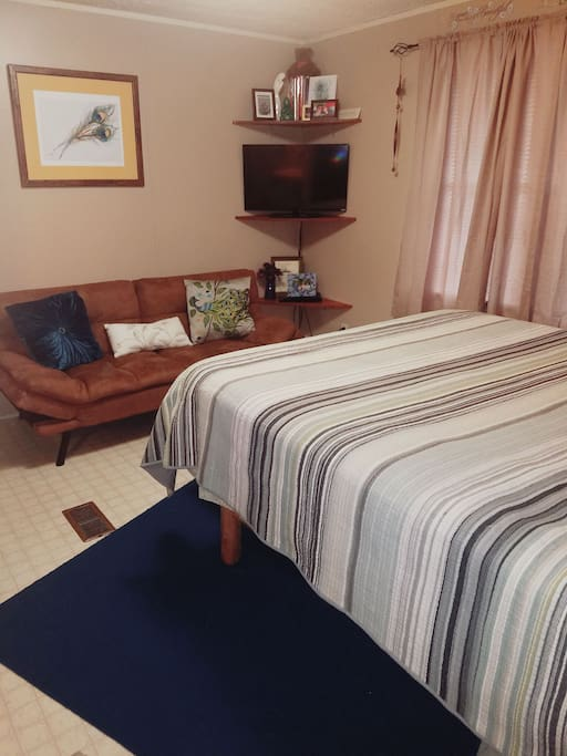 Master Bedroom with Queen Bed and Twin Futon Couch