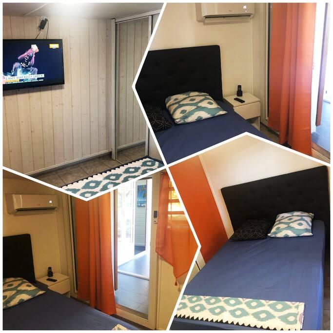 1er Chambre : Découvrez le confort de la chambre bleue. Cette chambre est entièrement équipé d'un placard d'une clim et d'une télévision ..