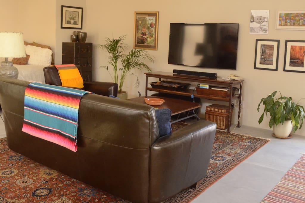 55 inch Flatscreen TV with Satellite.