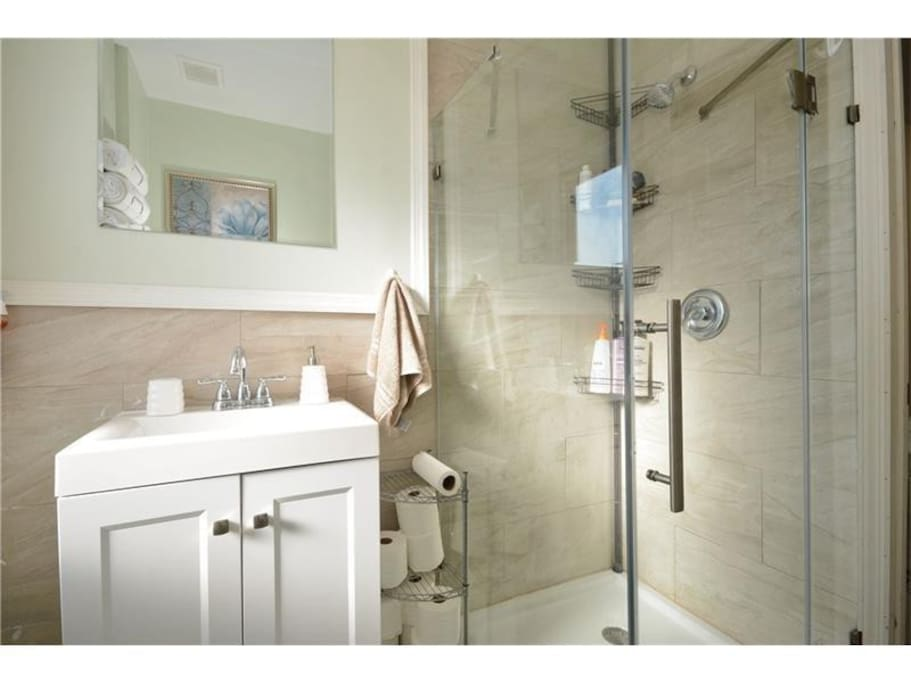 Bathroom: Modern with a standing shower and complimentary toiletries, including soap, shampoo, conditioner,  and a blowdryer