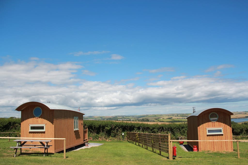 The Huts in their stunning location!