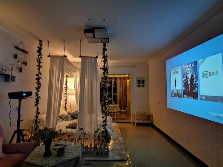 【彼岸民宿—room2】地暖开放/位于大胖东来东侧/人民中路市中心/翡翠城小区/投影/