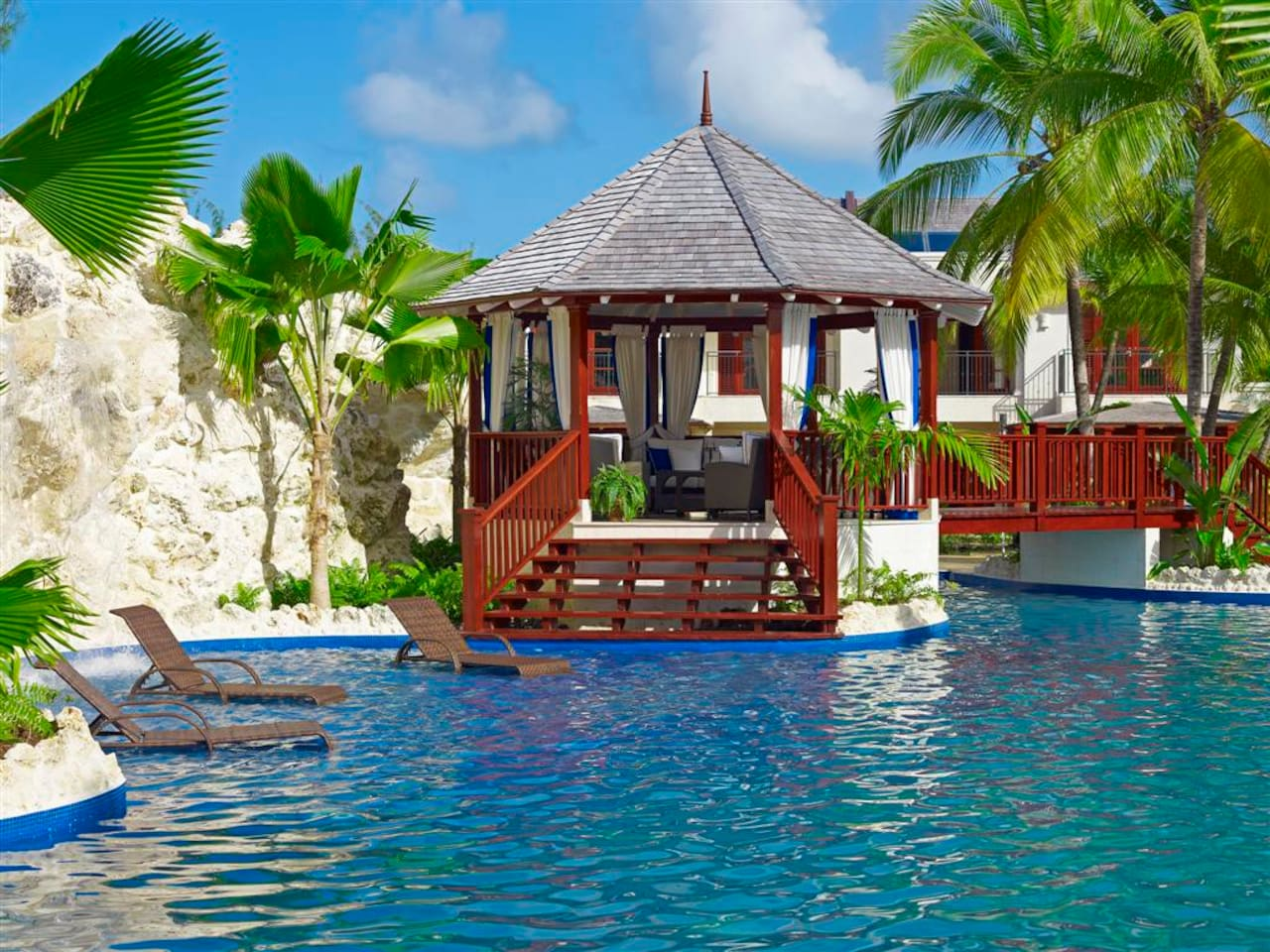 4000 sq ft pool, with communal gazebo and waterfall.