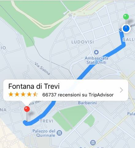 The distance between the apartment and Trevi fountain is 15 minutes walking.