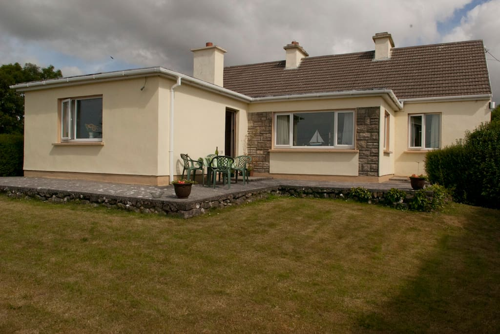 The back garden with views of Galway Bay & the Cliffs of Moher