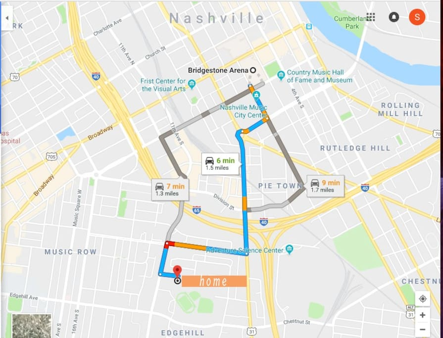 1.5 miles to the heart of Downtown! (Music City Center, Broadway, Bridgestone Arena, The Ryman...all of it!)
